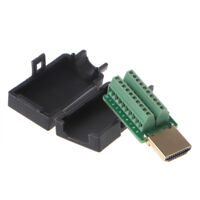 Male HDMI Plug Breakout Terminals Board Solderless Connector with Black Cover
