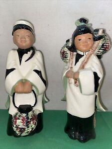 Vtg 2pc 1947 McCarty Bros. Sierra Modre Calif Pottery Oriental Asian Couple Vase