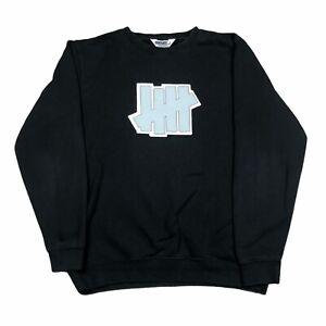Undefeated UNDFTD Embroidered Logo Crewneck Pullover Sweatshirt Sweater L Black