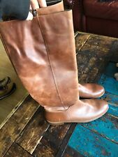 Bertie Biker Tan Brown Leather Boots Knee Lenght 41 8