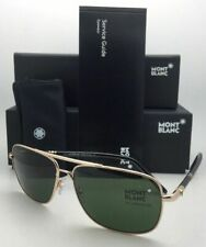 New MONTBLANC Sunglasses MB 508S 28N 60-14 Gold & Black Aviator Frame w/ Green