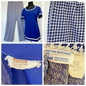 Vintage 60s Montgomery Ward Top Sears Pants Set size M L Blue Houndstooth P2