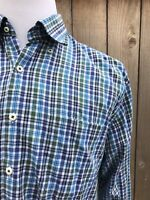 Peter Millar Men's 100% Cotton Green/Blue Check Plaid Long Sleeves Shirt Large