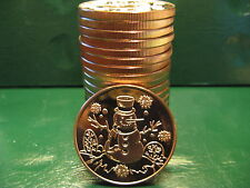 20 Christmas Rounds - SNOWMAN 1 oz .999 Copper Christmas TREE back-Beautiful