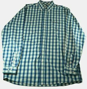 Roper Lavender Blue Plaid Long Sleeve Button Shirt XLT Western