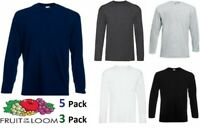 New Mens Fruit of the Loom Long Sleeve T Shirt Plain Top Pack Of 3  5