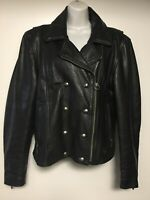 Harley Davidson Black Leather Womens Biker Moto Punk Rocker Jacket(Size US Large