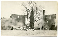 RPPC NY Sackets Harbor Eveleigh House Ruins Burned 1/4/20 Corner Main & Bayard