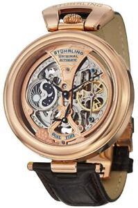 Stuhrling 127A Emperor Tourbillion Style Automatic Rose Gold Tone Dual Men Watch