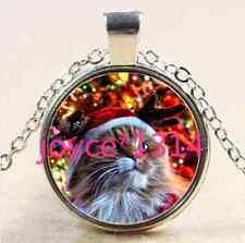 Vintage Christmas cat Cabochon Tibetan silver Glass Chain Pendant Necklace #2530