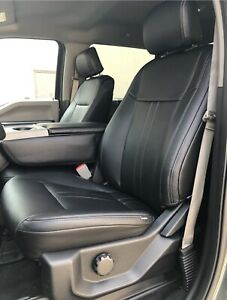 2015-20 Ford F-150 XLT SuperCrew Katzkin Black Leather Seat Covers Lariat Style