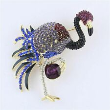 Large Multi-color Purple Blue Rhinestone Crystal Flamingo Brooch Pin B1158