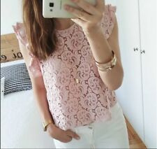 ZARA NUDE PINK GUIPURE LACE FRILL DETAIL TOP BLOUSE 2715/638 BLOGGERS M MEDIUM