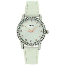 Ravel Ladies Silver Dial CZ Set Bezel White Croc Effect Strap Watch R0901.4L