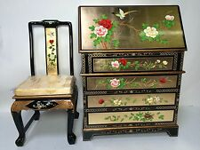 Oriental desk furniture Chinese gold leaves lacquer with chair