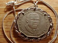 """Marcus Garvey Coin Pendant 24/"""" 18k White Gold Filled Round Woven Necklace"""