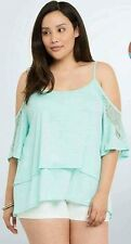 NWT Torrid Baby Blue Lace Inset Cold Shoulder Top Size 0 (12) NWT