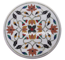 "20"" Marble Round Center Table Top Real Hakik Gem Mosaic Floral Inlay Work Decor"