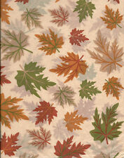 Fall Leaves on Tan Tissue Paper # 523 ~ Green/Gold/Rust ~ 10 Large Sheets