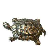 Vintage Gerry's Turtle With Green Rhinestone Eyes Pin Brooch, Tortoise, Figural