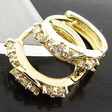 FS974 GENUINE 18K YELLOW G/F GOLD SOLID DIAMOND SIMULATED HUGGIE HOOP EARRINGS