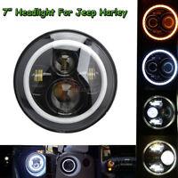 7'' Projecteur Feux avant Angel Eyes LED Phare ampoule DRL Pour Harley Touring