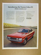 1971 Toyota Celica ST red car on race track photo vintage print Ad
