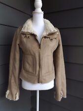 Cozy Women`s Coat Big Chill Faux Suede & Faux Fur Beige Sz L Zip Up Jacket