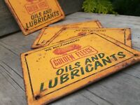Metal Golden Fleece mini Signs Rusty Petrol Man Cave Hot Rat Rod Petrol