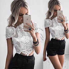 Womens Slim Casual Short Sleeve Lace Shirt Tops Blouse Ladies Tops Size 6-16
