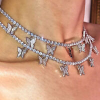 Woman's Necklace Silver Crystal Rhinestone Butterfly Pendant Clavicle Choker