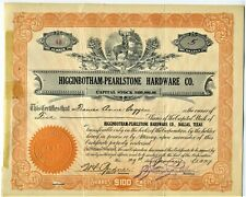 1927 HIGGINBOTHAM PEARLSTONE HARDWARE STOCK CERTIFICATE DALLAS TEXAS TO BAGGERS