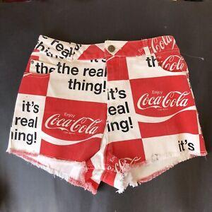"Coca Cola Its The Real Thing Graphic Denim Jean Shorts Cutoffs Medium 27"" Waist"