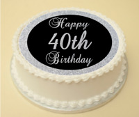 40th BLACK & SILVER BIRTHDAY EDIBLE CAKE & CUPCAKE TOPPER WAFER PAPER/ICING