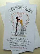 Personalised Wedding Thank You Cards - 20pk with envelopes - (TYBG)