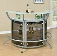 Modern Contemporary Silver 2-Shelf Curved Bar Wine Cabinet TableW Frosted Glass
