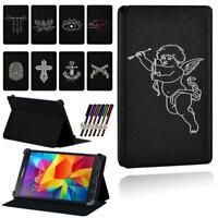 Folio Leather Smart Stand Case cover For Samsung Galaxy Tab 3 / 4 Tablet + Pen