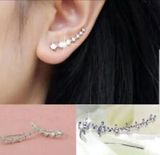 HOT Ear Climber Crawler Creeper Earring Crystal Diamante Rhinestone Stud Cuff