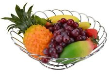 12 Inches Chrome Plated Fruit Basket, Silver