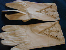 Vintage Gloves 60s White Leather Cutwork Floral S Italy