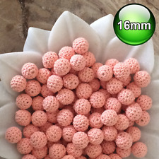 10 x Crochet wood beads 16mm Peach knit wooden teething baby safe jewellery