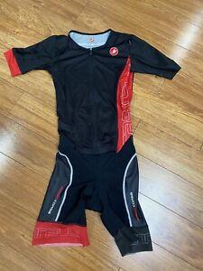 CASTELLI Rosso Corsa Tri Suit Black/White/Red Men's M Never Worn