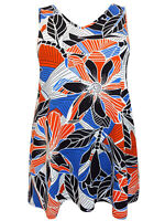 NEW Evans Blue Sleeveless Printed Jersey Long Swing Top Tunic Plus Size 20-28