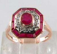 CUSTOM ORDER williafindla_6 9CT ROSE GOLD RUBY DIAMOND ART DECO RING SIze R UK