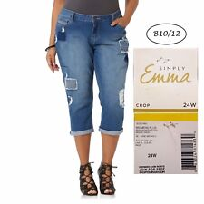 SIMPLY EMMA NEW Americana Ripped Patch Stretch Cropped Jeans 24W L23 QCO