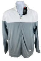 Under Armour Men's Activewear Full Zip Long Sleeve Track Jacket Gray White Sz M