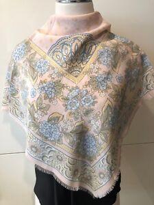 ECHO Pastel Pink & Blue Floral 100% Silk Crepe de Chine SCARF 86cm x 86cm