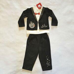 DISNEY pyjama velours bébé MICKEY Noel 23 mois noir Christmas Fêtes 2 pièces