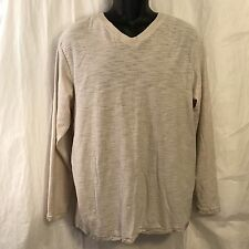 Paper Denim Cloth Shirt Medium Vintage Classic V-Neck Beige Crinkle Cotton