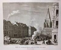 Lille en 1792 Mort du Général Dillon Rare Gravure d'époque Révolution Française